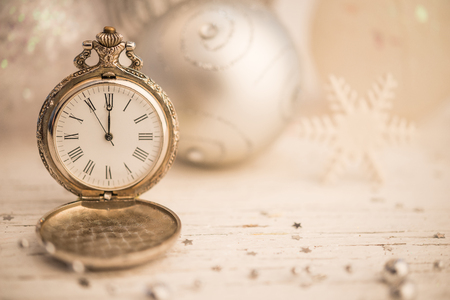 Christmas deoration with copy space and clock shows midnight