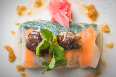 Close up of vegan spring rolls in plate