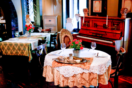 Table For Two And Piano In Restaurant Interior Stock Photo Picture - Table for two restaurant