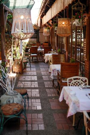 Restaurant patio in vintage style 版權商用圖片