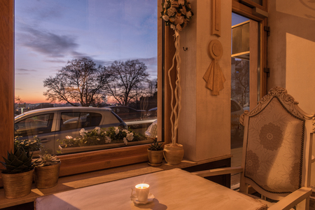 Sunset and luxury restaurant