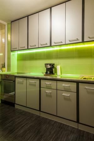 Modern luxury kitchen in luxury apartment interior 版權商用圖片