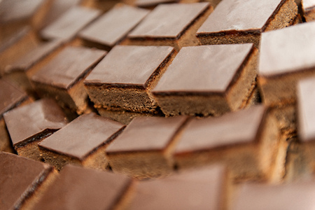 Chocolate cakes in bunch, sweet background