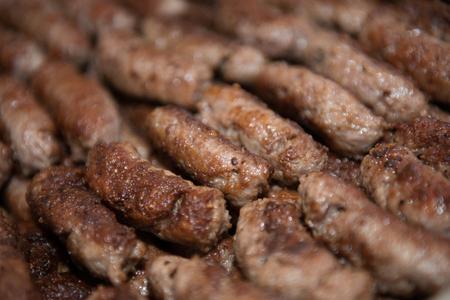 Kebab background, close up of bunch kekabs in plate 版權商用圖片