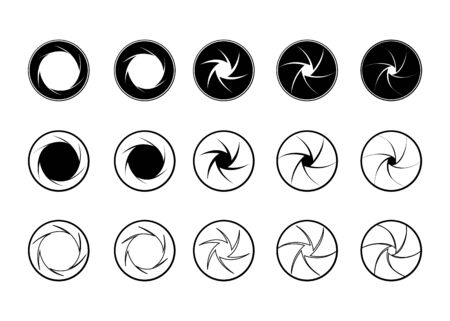 Camera Shutter. Set of camera lens aperture icons with different position of a diaphragm petals. Vector illustration 向量圖像
