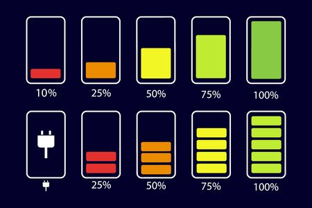 Battery icon set. Battery level. Color collection of battery power. Vector illustration