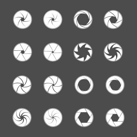 Camera lens diaphragm. Photo lenses aperture, cameras shutter silhouette icon and shutter apertures pictogram. Lomography film lens or snap optics objective lenses. Isolated vector symbols set Vecteurs