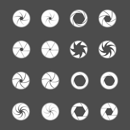 Camera lens diaphragm. Photo lenses aperture, cameras shutter silhouette icon and shutter apertures pictogram. Lomography film lens or snap optics objective lenses. Isolated vector symbols set 向量圖像