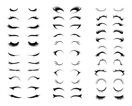 Eyelashes set. Different types of eyelash extensions. Unicorn eyelashes. Vector Ilustração Vetorial