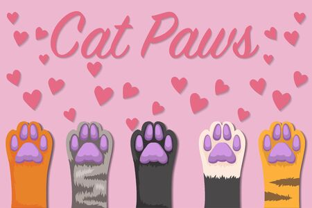 Cats paw set, isolated on background. simple cartoon flat style, vector illustration.