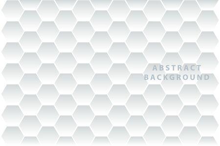 Résumé. Hexagone en relief, fond blanc en nid d'abeille, lumière et ombre.