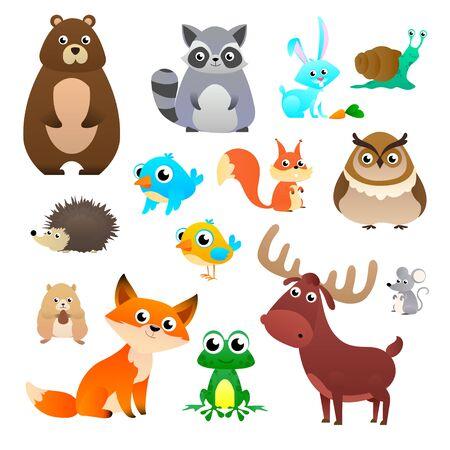 Vector grande establece animales del bosque en estilo de dibujos animados, aislado sobre fondo blanco. Plantilla de diseño de ilustración vectorial