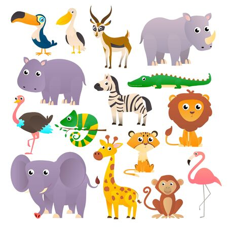 Big collection of wild animals, savannah, isolated on white background.