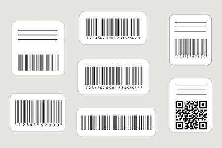 Realistic barcode and qr codes label set