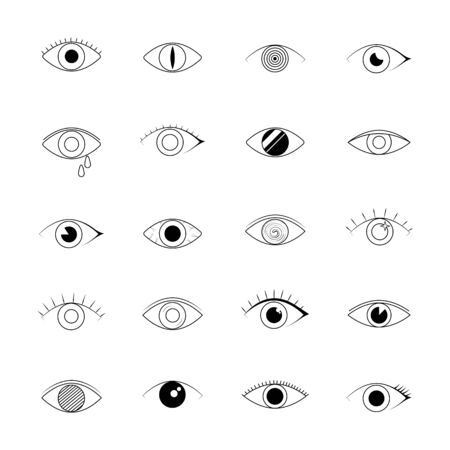 Eye icons. human vision and view signs. Vector line art eye illustration isolated on white background