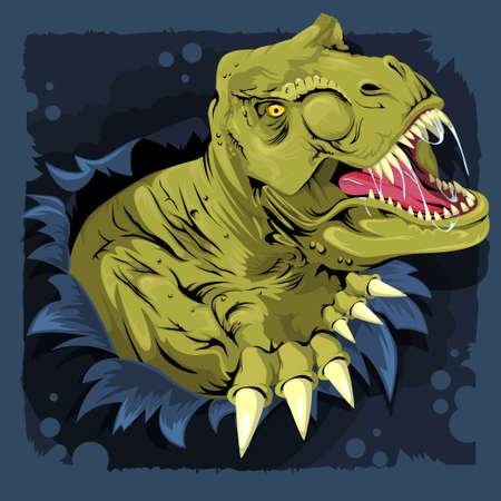 T Rex cartoon dinosaur ripping through a wall on a dark blue background. Vector illustration 向量圖像