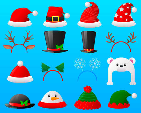 Christmas photo booth and cartoon Christmas hat set. Flat icon set Christmas carnivals caps. Vector illustration 일러스트