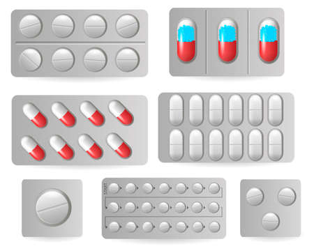 Medical pills in blisters, medicine drugs icons. Blister with capsules, tablet for illness. Vector illustration