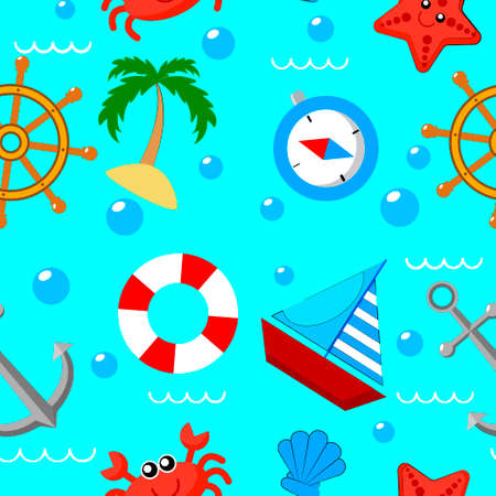 Collection seamless pattern of pirate and sea elements: ship, anchor, compass. Vector illustration.