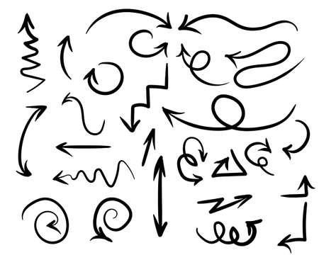 Illustration handmade doodle vector arrow set. Arrows pointing in different directions.Vector llustration Illusztráció