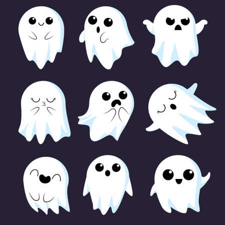 Little cute ghosts collection. Illustrations for Halloween in cartoon style with different emotions. Cartoon spooky character. Vector illustrations