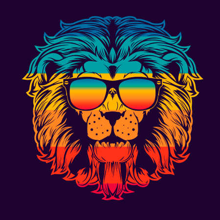 Print head of lion. Use for print, posters, t-shirts. Vector illustration