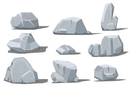 Big and small rock with shadow on white background. Vector illustration
