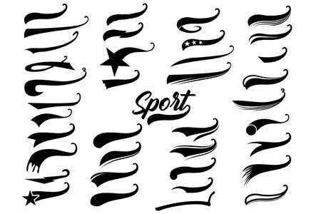 Retro texting tails swooshes swishes, swooshes and swashes for vintage baseball typography. Vektoros illusztráció
