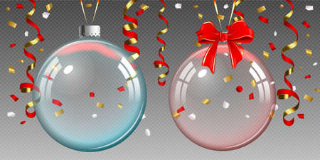 Glass transparent Christmas ball and ribbons isolated on transparent background.