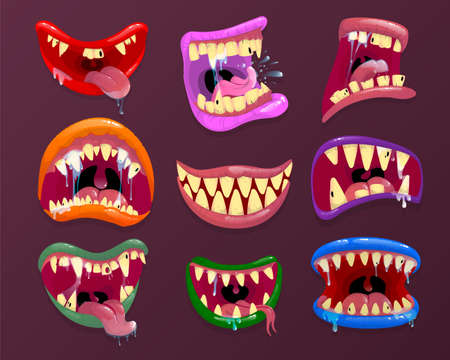 Monster mouth. scary mouth with sharp teeth and long tongue. Spooky smile and angry scream. Vector illustration. Illustration