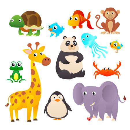 Collection wild animals. Cartoon animals collection: Monkey, giraffe, elephant. Vector illustration