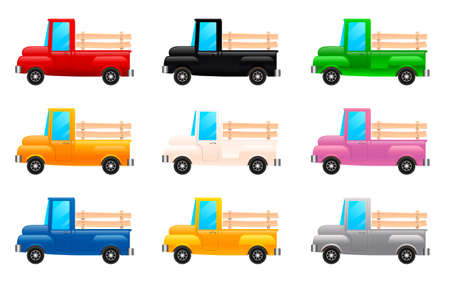 Flat design set of lorrys. Isolated on white background. Isometric cartoon-style cargo cars. Vector illustration Illustration