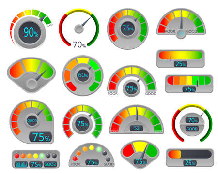 Business credit score vector speedometers. Credit score indicators. Credit rating is bad and good rating example. Vector illustration