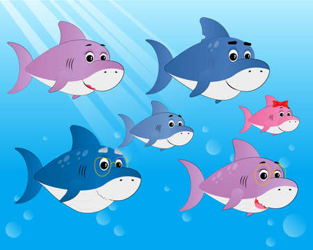 Family shark set of colorful cartoon fish character isolated on blue background. Mama, Papa, Grandma, Grandpa, sister and brother  Shark. Vector illustration Young and Old Shark. Illustration
