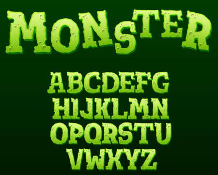 Green monster text effect on black background. Cartoon style alphabet with shadow. Vector illustration Illusztráció