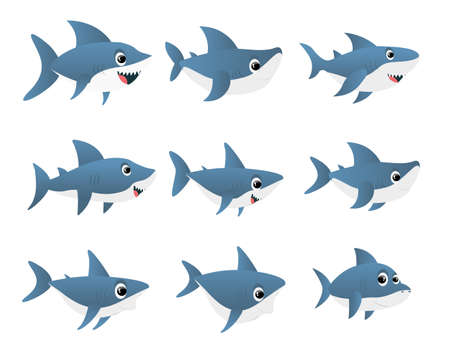 Blue shark cartoon character. Vector set isolated on white background. Shark fish mascot. Sharks for baby, kids and family. Vector illustration Ilustracja