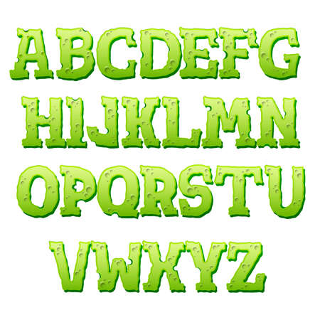Green text effect on white background. Cartoon style alphabet with shadow. Vector illustration