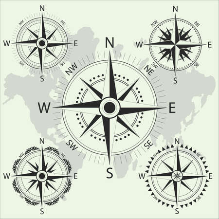 Retro nautical compass. Old compas icons. Maritime navigation and cartography symbol. Vector illustration 일러스트