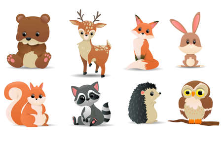 Forest animals set. Forest symbols - bear, deer, fox, squirrel, raccoon, owl, rabbit, hedgehog, beaver. Cute forest animals. Vector illustration