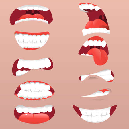 Facial expression surprised mouth. Funny Cartoon mouths set with different expressions. Facial gestures set with pouting lips smiling sticking out tongue. Vector illustrator
