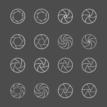 Camera lens diaphragm. Photo lenses aperture, cameras shutter silhouette icon and shutter apertures pictogram. Lomography film lens or snap optics objective lenses. Isolated vector symbols set Illustration