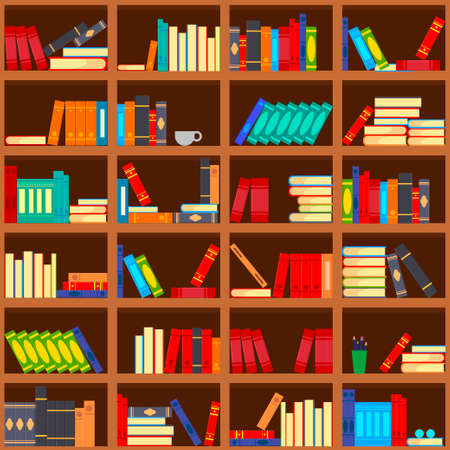 Books on shelves, seamless pattern. Bookcase, library. Vector illustration. Education, training, literature.