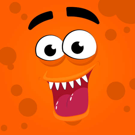Scary monster mouth with teeth and tongue. Halloween cute alien, head funny character flat illustration.