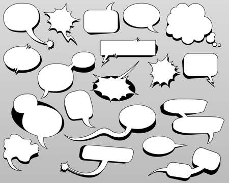 Cartoon oval discuss speech bubbles. Thought cloud white objects on gray-blue background. Vector illustration Vetores