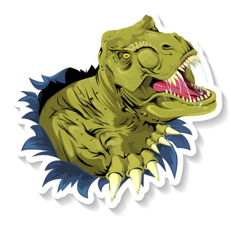 Tyrannosaurus T Rex ripping through a wall on white background. Vector illustration