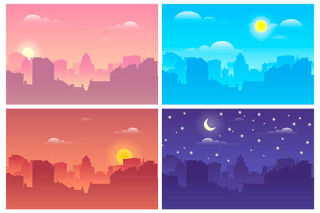 Architectural silhouette vector background collage with white frames set. Morning, afternoon, night cityscape, city buildings at different times. Vector illustration Vektorgrafik