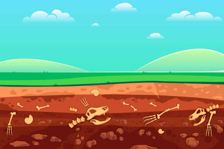 Soil with dead animals. Horizontal seamless earth underground surface with dinosaur and lizard bones vector illustration