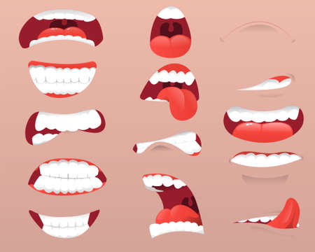 Cartoon faces and expressions. Funny mouths set with different expressions. Facial gestures set with pouting lips smiling sticking out tongue. Vector illustrator
