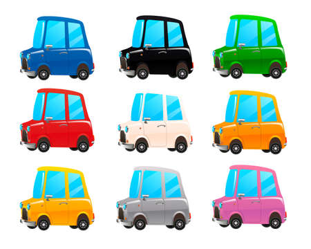Set of multicolored toy cars. Cartoon car red, grey, blue, yellow, black, white, orange, pink, grey modern super sports cars - side view - 3D Illustration