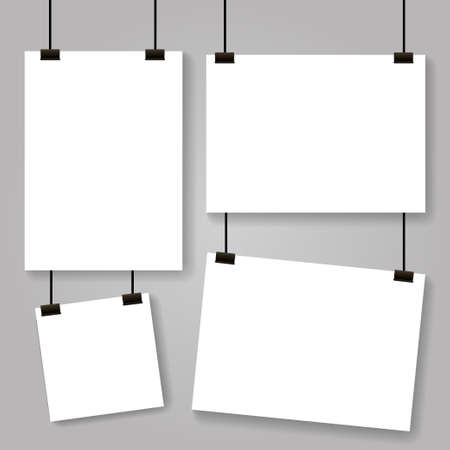 Realistic hanging blank paper sheet with shadow in A4 format and black paper clip. Design poster, template or mockup. Vector illustration
